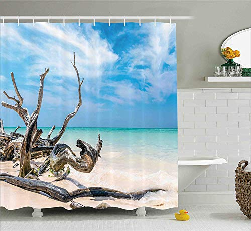 - Driftwood Decor Shower Curtain Seascape Theme Branches on Sandy Beach of Cuba and The Sky Image Fabric Bathroom Decor Set with Hooks Long Turquoise Sky Blue 60