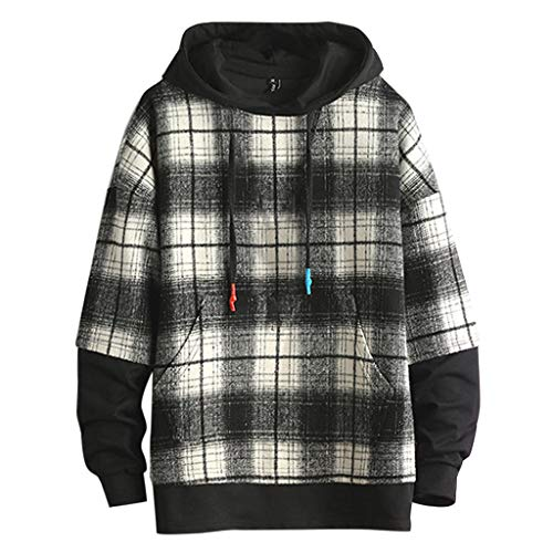 Men's Casual Long Sleeve Snap On Plaid Shirts Tops Jacket with Hooded White