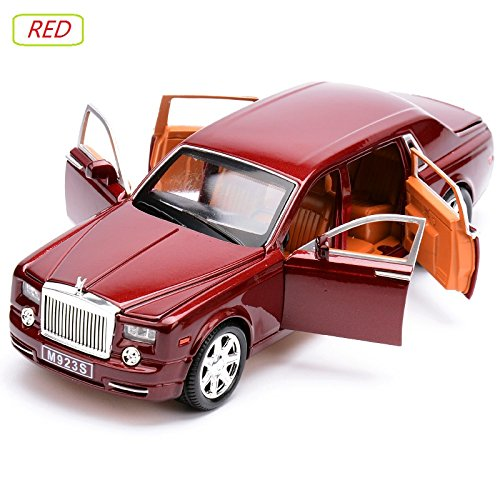 1:24 Rolls Royce Phantom Car Model With 6 Doors Open, Excellent Quality Die Cast Vehicles Red