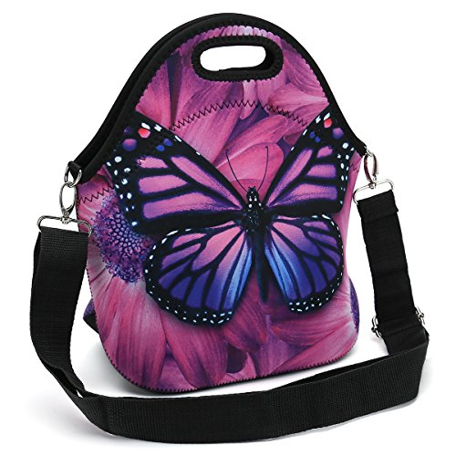 Butterfly Lunch Bag (Insulated Neoprene Lunch Bag - Removable Shoulder Strap - X-Large Size Reusable Thermal Thick Lunch Tote/Lunch Box/Cooler Bag For Women,Teens,Girls,Kids,Baby,Adults (Purple Butterfly))