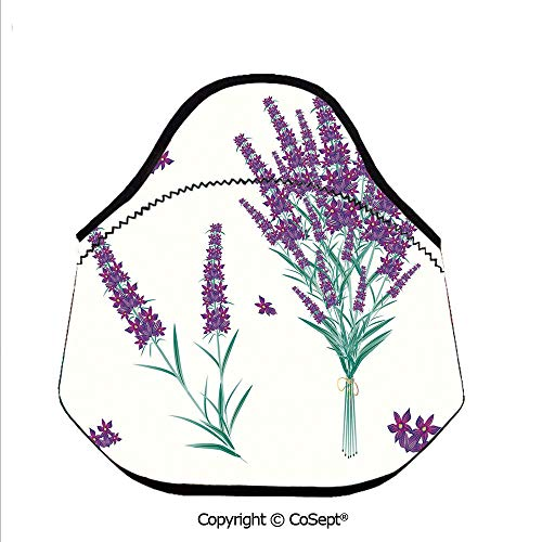 (Portable lunch bag,Aromatic Blossoms Bouquet from Provence France Fragrant Herbal Flora Decorative,for Women Men Kids Boys Girls(11.81x6.29x11.02 inch) Purple Magenta Teal)