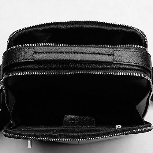 piel bandolera Negro bolso de bolsas vacuno vintage aut¨¦ntica Padieoe Negro bolsa de Hombres x8SHw