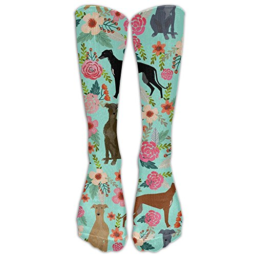 GOGO Greyhound Floral Cute Dog Mint VintageKnee High Graduated Compression Socks for Women and Men - Best Medical, Nursing, Travel & Flight Socks - Running & Fitness