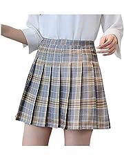 XUJY Geruite rok minirok zomerrok korte rok casual rok plooirok mini skaterrok carnaval jurk onderrok meisjes veelzijdige plaid getuige rok met shorts voor koud weer