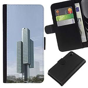 KLONGSHOP // Tirón de la caja Cartera de cuero con ranuras para tarjetas - Arquitectura Moderna Ciudad Bloquear - Sony Xperia Z3 D6603 //