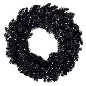 Hallmark Keepsake Christmas Ornament Star Galaxy Black Wreath with Lights, 30″