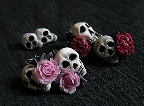 (Gothic wedding earrings Pastel Goth jewelry Skull Pink rose Red peony Skeleton Bone Halloween costume gift Witch Wiccan Occult Vampire Zombie Voodoo Biker girl Metal music lover Punk)