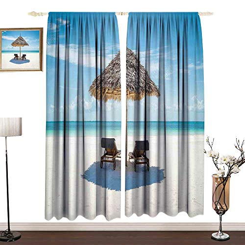 DESPKON-HOME Seaside Picture Custom Curtains Drapes for Boys Room Wooden Sun Loungers Facing Eastern Ocean Under a Thatched Umbrella in Zanzibar Light Darkening Curtains W84 x L84 in Turquoise Cream (Sale Umbrellas Thatched)