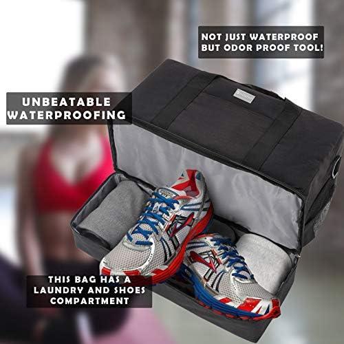 HOKEMP Gym Bag For Women Men Sport Duffel Bag with Shoes Compartment, Swim Bag Travel Tote Luggage Shoulder Bag (Black)