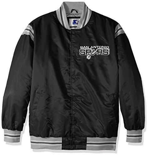 STARTER NBA San Antonio Spurs Men's The Enforcer Retro Satin Jacket, 4X, Black ()