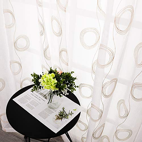 (MRTREES Circle Embroidered Sheer Curtains Embroidery Living Room Curtain Sheers Bedroom 63 inch Length Voile Curtain Panels Flower Window Treatment Rod Pocket Drapes 2 Panels Taupe Circle on White)