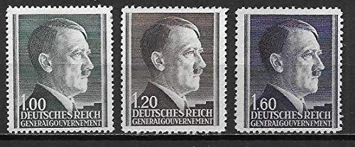 Poland 1944 German Occupation General Government Adolf Hitler Set of 3 Postage Stamps, Catalog No N94a-96a