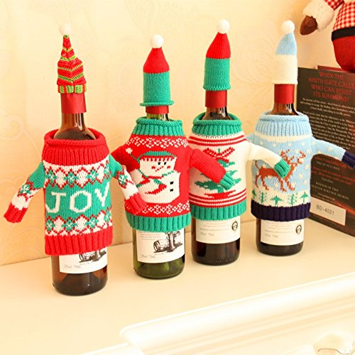 Costume Jewelry Christmas Tree Framed (Wine Bottle covers, Santa Knitted Sweater with Cap, Christmas Wine Decoration, Set of 4)