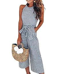 2020 Women's Striped Sleeveless Waist Belted Zipper Back Wide Leg Loose Jumpsuit Romper with Pockets