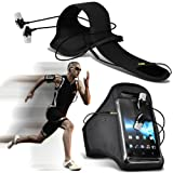 ( Black + Earphone ) Huawei Ascend P7 Stylish Fitted Sports Armbands Running Bike Cycling Gym Jogging Ridding Arm Band Case Cover With in Ear Buds Stereo Hands Free Earphone by ONX3®
