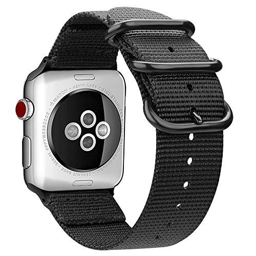 Fintie Replacement Band Compatible Apple Watch 44mm 42mm, Lightweight Breathable Woven Nylon Sport Loop Wrist Strap Compatible with Apple Watch Series 4 Series 3 Series 2 Series 1 - Black