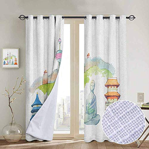 NUOMANAN Bedroom Curtains Ancient China,Watercolor Illustration Chinese Cityscape Old and Modern Together Great Wall, Multicolor,Thermal Insulated Room Darkening Window Shade 54