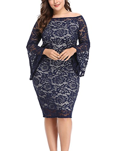 Wow Prom Gowns - Women's Plus Size Empire-Waist Lace Off-The-Shoulder Bell Sleeves Sexy Bodycon Party Dress Blue 22W