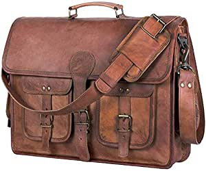 Leather Briefcase for Men and Women 18 inch Handmade Leather Messenger Bag for Laptop Best Computer Satchel School Distressed Bag by Komal's Passion Leather Brown Four Pocket
