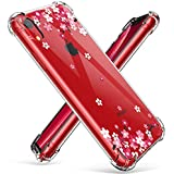 GVIEWIN Case for iPhone XR, Clear Flower Pattern Design Soft & Flexible TPU Ultra-Thin Shockproof Transparent Girls and Women Floral Cover, Cases for Apple iPhone XR 2018-(6.1 inch) (Peach Blossom)