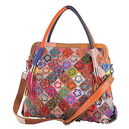 Eysee Handtasche Damen Leder-Umhängetasche Damenhandtasche Henkeltaschen Schultertasche aus echtem Leder bunt 2019 NEU Groß