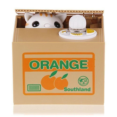 Resulzon Stealing Coin Cat Box- Piggy Bank - White Kitty - English Speaking- Great Gift for Any Child (English Coins)