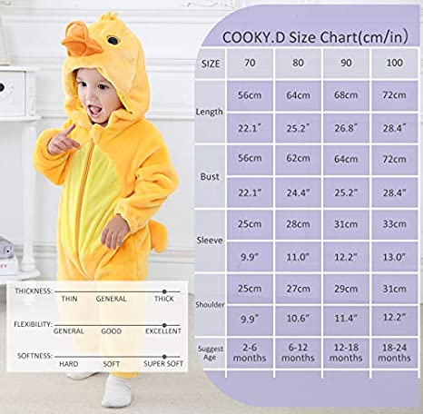 COOKY.D Combinaison dhiver B/éb/é Grenouill/ère avec Capuche 0-24 Mois