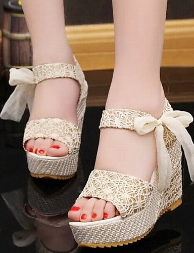 Fashion Shoes For Women Lace Fabric Platform Heels Peep Toe Sandals Office Career Dress Casual Multicolor