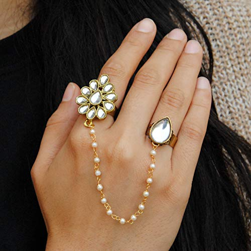 (White Pear Shape Kundan 2 Finger Ring Linked With Pearl Chain. Adjustable Double Rings. Teardrop White Kundan Flower. Ethnic Fashion Jewellery. Contemporary, Handmade Unique Traditional)