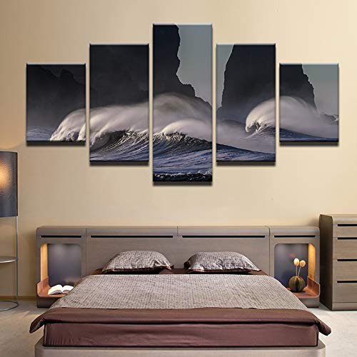 40x60 40x80 40x100cm No Frame HD Print 5pcs Canvas Art Sea Beach Seascape Painting Modern Home Decor Wall Art Picture for Living Room Decor Painting