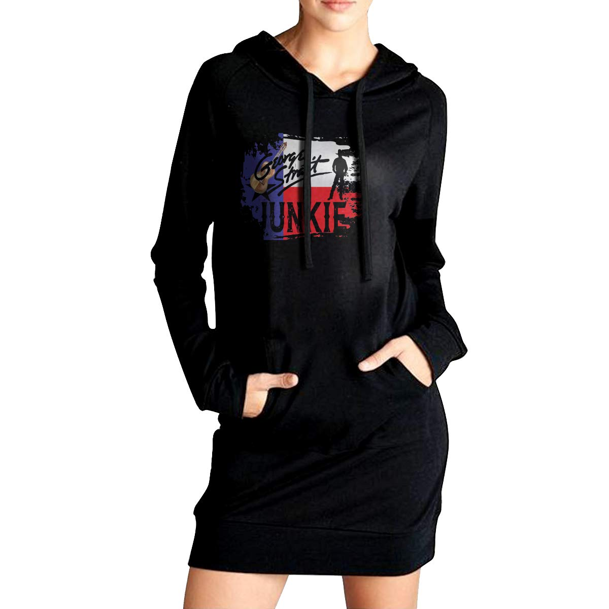 Sunshine George Strait Junkie Womens Long Sleeve Hooded Loose Casual Pullover Hoodie Dress Tunic Sweatshirt Dress with Pockets