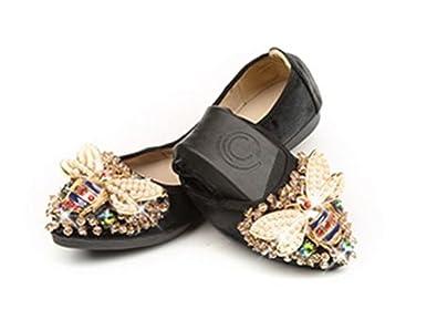 Womens Foldable Soft Ballet Flats Bling Rhinestone Comfort Slip On Loafers  Flat (Black 36  e0866b9c0b