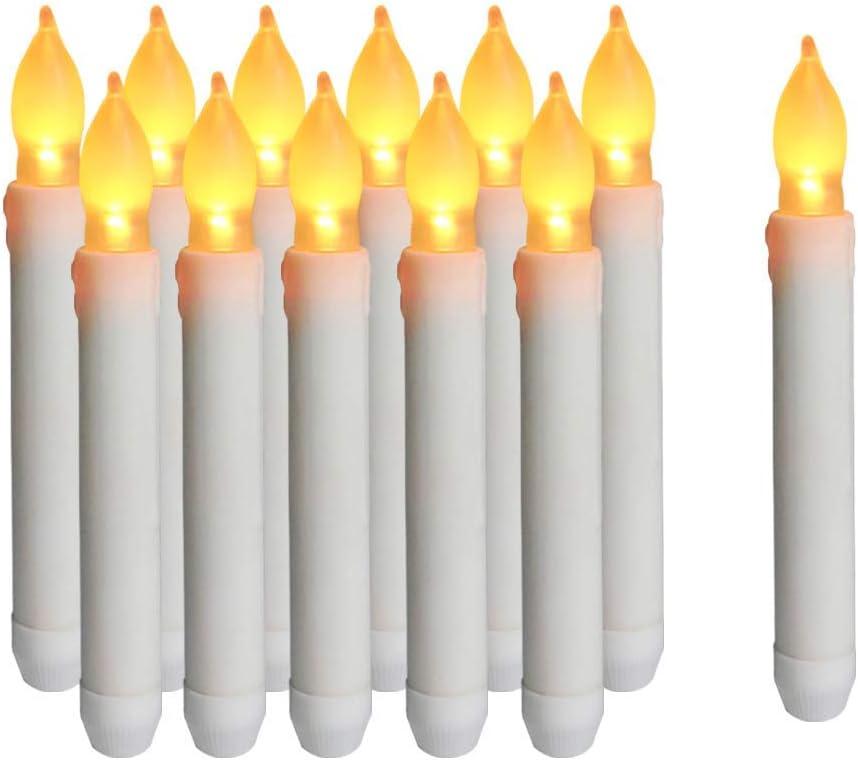 Sin Paquete de bater/ía 6.5 Inch 16.5 cm Lees Relief Bazaar Taper LED Velas de luz Juego de 12 sin Llama AA Bater/ía Velas para la Cena Festivales con Largo