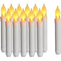 Cotek Luz de velas LED sin llama, 12PCS Velas cónicas de Navidad LED con pilas para iglesias de cumpleaños de boda y…