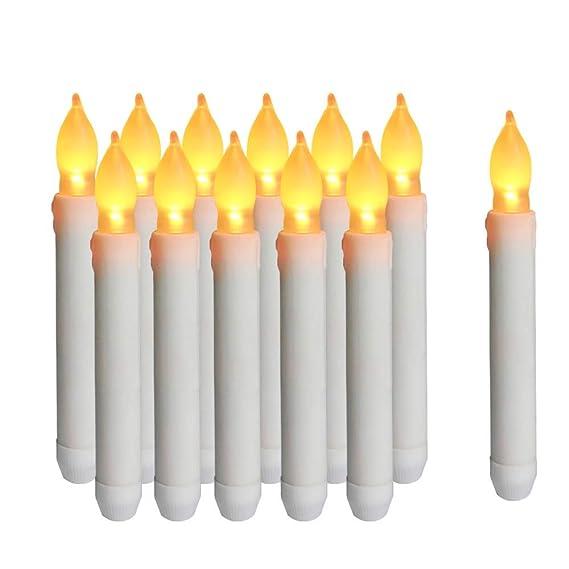 Cotek Luz de velas LED sin llama, 12PCS Velas cónicas de Navidad LED con pilas para iglesias de cumpleaños de boda y decoraciones de fiesta