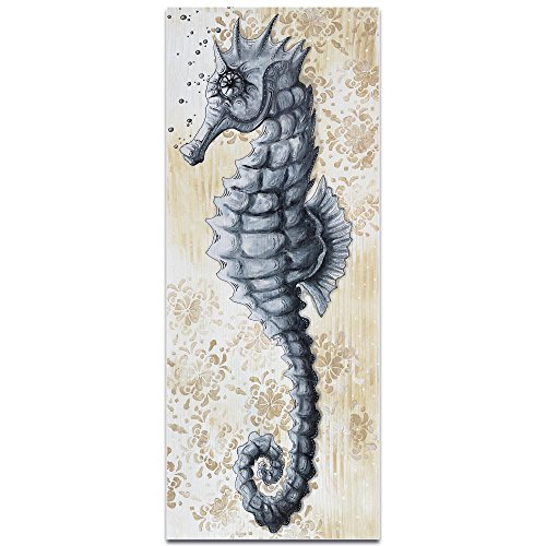 Metal-Art-Studio-Modern-Beach-Decor-Sea-Fantasy-v2-by-Megan-Duncanson-Coastal-Bathroom-Art-Seahorse-Painting