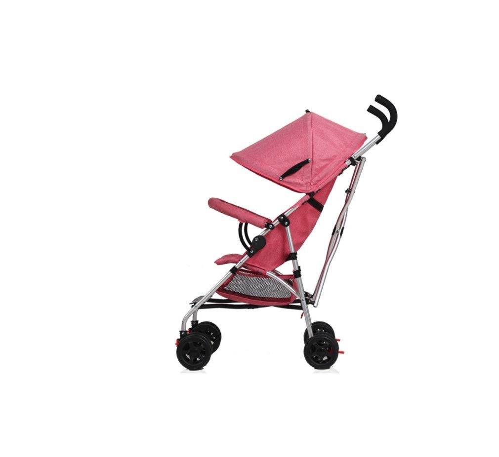 旅行ベビーカー軽量折りたたみ吸汗性通気性ベビーカー大スペース日除け調節可能なベビーカー ( Color : ピンク , Size : 108*36*30cm )   B07QRSKGS2