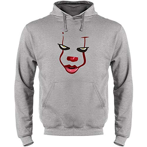 Pop Threads Clown Face Horror Halloween Scary Heather Gray 2XL Mens Fleece Hoodie Sweatshirt -