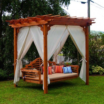 A&L Furniture Co. Cedar Pergola Arbor Swing Bed Set