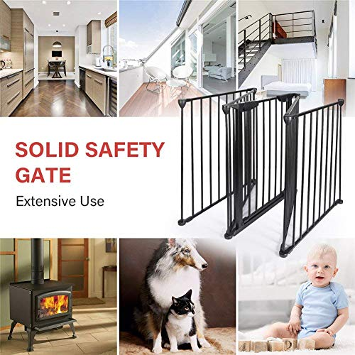Upgraded Fireplace Safety Fence Baby Gate/Fence BBQ Pet Metal Fire Gate Baby Play Yard with Door 5 Panels Safety Gate for Pet/Toddler/Dog/Cat US Stock by Tenozek (Image #6)