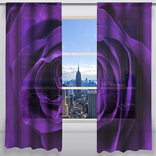 QH Purple Rose Blooming Window Sheer Curtains for Living Room Bedroom Kids Room 55 W x 78 L Set of 2 Panels