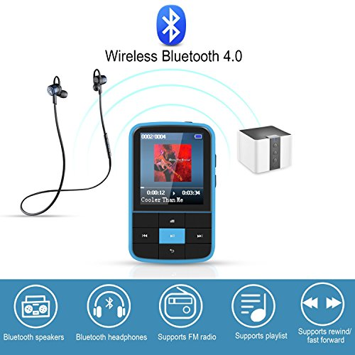 AGPTEK 16GB Clip MP3 Player with Bluetooth 4.0, Wearable Portable Music Player with Sweatproof Silicone Case and Sport Armband Expandable Up to 128GB, Blue(G15) by AGPTEK (Image #2)