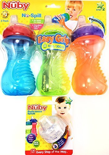 Nuby No Spill Easy Grip 10 Oz Sippy Cups 3 Pack Plus 2 Pack Replacement Silicone Spouts by Nuby