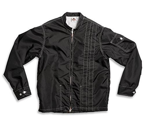 Birdwell Men's Lightweight Band Collar Nylon Jacket (XX-Large, Black & Black)