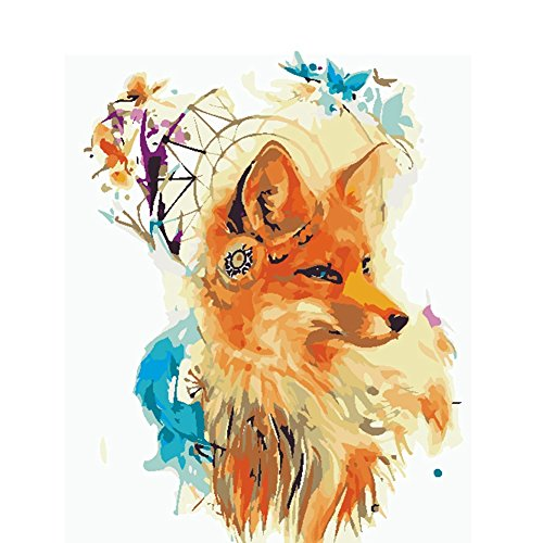 Adarl DIY Oil Painting Paint By Number Kit Image Drawing On Canvas By Hand Coloring Arts Crafts & Sewing(Floral Fox)
