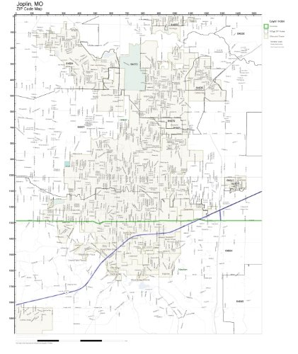 Amazoncom ZIP Code Wall Map of Joplin MO ZIP Code Map Laminated