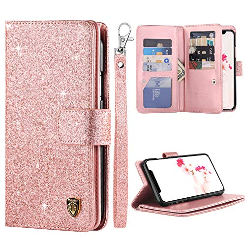 iPhone Xs Max Case, BENTOBEN iPhone Xs Max 6.5 Bling Glitters PU Leather Kickstand Flip Card Holder Cash Pocket Wristlet Protective Shockproof Sturdy Girl Purse for Apple iPhone Xs Max, Rose Gold