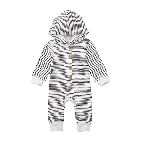 Tianve Unisex Baby Boys Girls Long Sleeve Button-Down Striped Hoodie Romper Winter Warm Jumpsuit Outfit Clothing Set (6-12 Months) Long Sleeve Striped Onesie