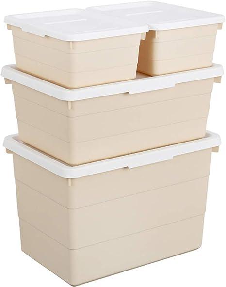 Nfudishpu Rack de Almacenamiento de Juguetes, edredón de Ropa Caja de Almacenamiento de plástico Revista Caja de Almacenamiento Suministros de Oficina Grandes Soporte de Monitor de TV (Color: Beige): Amazon.es: Deportes y