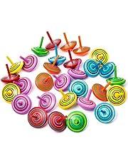 ZOEON 30 Pcs Peonza de Madera, Peonza de Colores Pintadas para Niños, Suministros para la Fiesta
